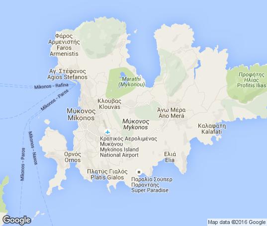 Mapa de los apartamentos en Mykonos